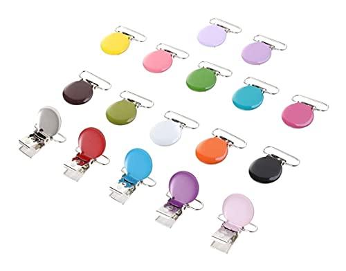 LIXBD Lot de 17 clips ronds en métal durable pour tétine - Attache de dentition - Attache de sucette - Attache de jouet - Pour la fabrication de sucettes