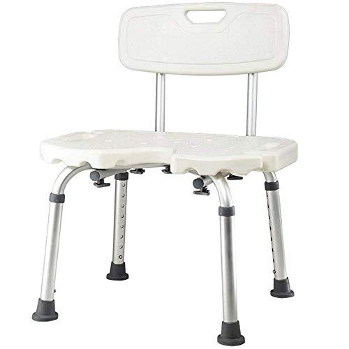 DYYBDY Duschhocker Hohenverstellbar, Duschstuhl mit Rückenlehne, weiß, Hygieneaussparung, höhenverstellbar 66-84 cm, bis 135 kg