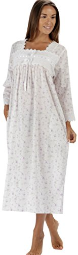 100% Baumwolle Nachthemd - Damen Viktorianisch 3/4 Länge Ärmel Nachthemd Laura - Lila Rose, S