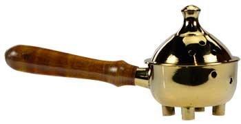 Raven Blackwood Wood Handled Brass Incense Burner 7'