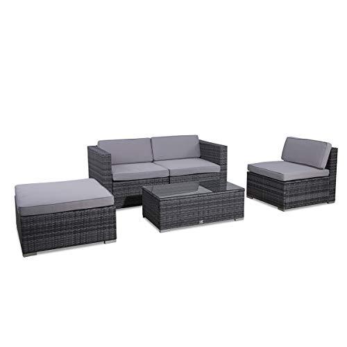 SVITA Poly Rattan Lounge California Gartenset Sofa Garnitur Polyrattan Gartenmöbel Farbwahl (Grau) - 4