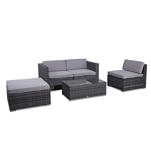 SVITA Poly Rattan Lounge California Gartenset Sofa Garnitur Polyrattan Gartenmöbel Farbwahl (Grau) - 8