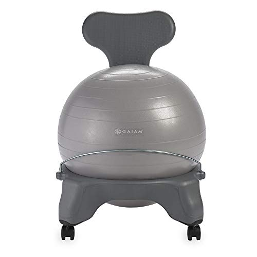 Gaiam Classic Balance Ball Chair – Exercise Stability Yoga Ball Premium Ergonomic Chair for Home and Office, Cool Grey, 24-25' Sitting Height