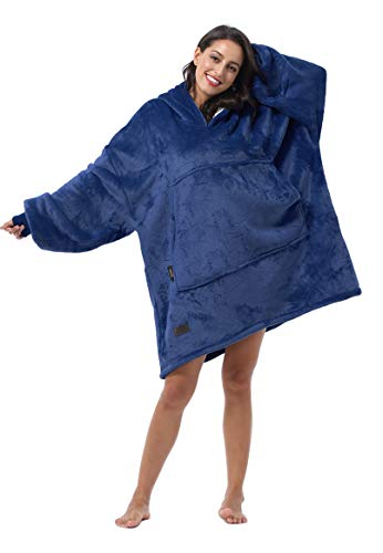 Tirrinia Kapuzenpullover, Übergröße, bequem, wendbar, blau, Einheitsgröße
