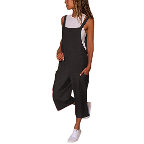 Shinehua Jumpsuit Damesbroek, elegant, lange overalls, mouwloos, baggy, speelpak, brede broek, grote maten, bib, broek, playsuit, boyfriend Small zwart