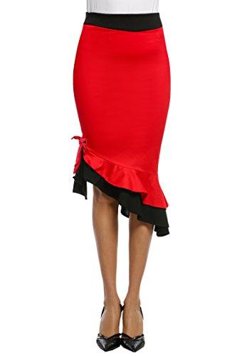 Donkap Women's Working Skirts High Waist Bodycon Mermaid Pencil Skirt Red L