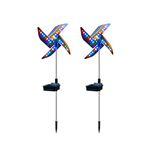 AbbyNi 2pcs Windmill Solar Lamp, Garden Wind Spinners LED Solar Lights, Outdoor Waterproof Multicolor Pathway Lights for Yard Fence Patio Lawn