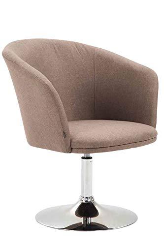 CLP Lounger Arcade mit hochwertigem Stoffbezug I drehbarer Sessel I Lehnstuhl mit Trompetenfuß I Sitzhöhe von 43 cm, Farbe:Taupe