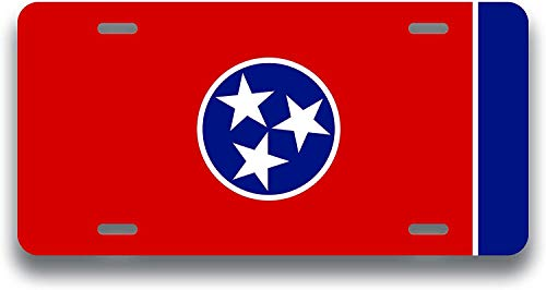 Tennessee State Flag License Plate | Metal Novelty Vanity License Plate | 6 x 12 Inch Universal Tag for Cars, Trucks, Trailers (AM009)