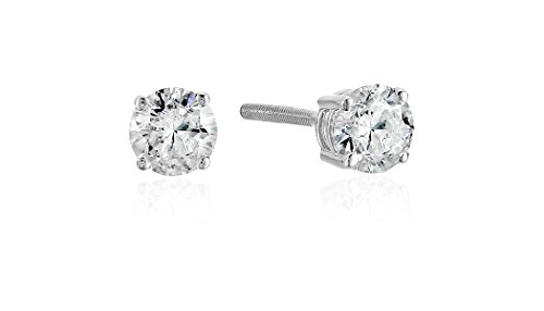 The Diamond Channel 1/2 cttw Certified Diamond Earrings For Women in 14K White Gold with Screw Back and Post Studs (J-K Color, I2 Clarity)