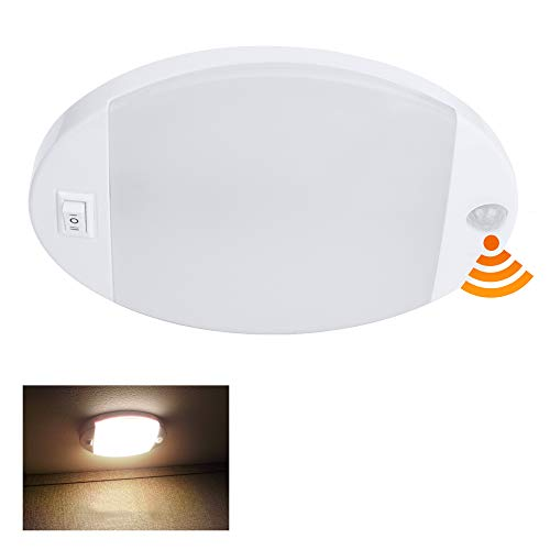 Facon RV Ceiling Dome with PIR Motion Sensor LED Puck Light Under Cabinet Light, 12Volts DC Ceiling Dome Light with Switch for RV Motorhomes Camper Caravan Trailer Boat