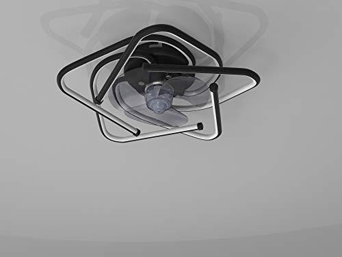 Ventilador De Techo Con Luz, LED RGB 120W, Simplicidad Moderna, Diseño Exclusivo, Mando Distancia, Moderna, Lujoso, Creatividad, 3 Velocidades, Velocidad Del Viento Ajustable, Motor De Cobre,Negro