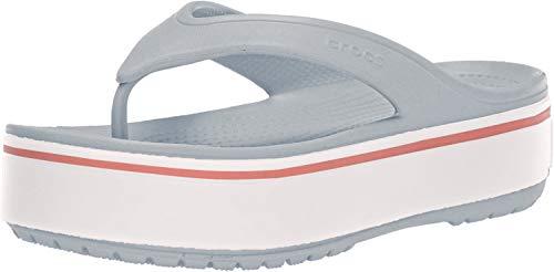 crocs Unisex-Erwachsene Crocband Platform Flip U Dusch-& Badeschuhe, Grau (Light Grey/Rose 04m), 39/40 EU