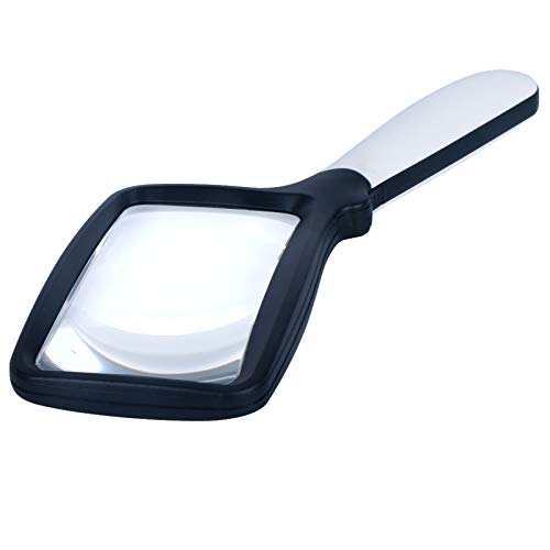 3X Handheld Magnifying Glass, Large Hand Folding Reading Magnifier with 5 Dimmable LEDs Lighted, Rectangular Magnifying…