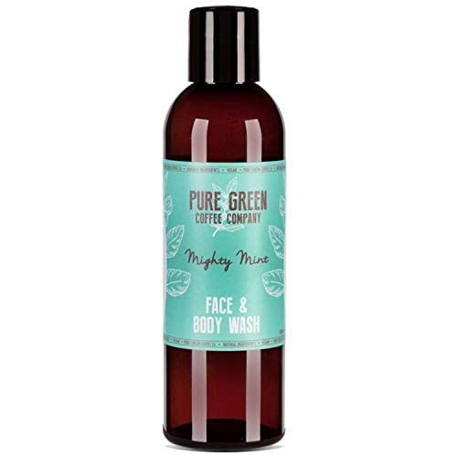 Pure Green Coffee Company - Gel de ducha nutritivo/purificador facial/corporal. Enriquecido con café verde - Hidratación intensa y refrescante, fresco aroma a menta. Sin parabenos/Vegano – 200ml