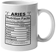 Aries Nutrition Facts Coffee Mug Funny Motivation Inspiration 11 ounce White Ceramic Novelty product image
