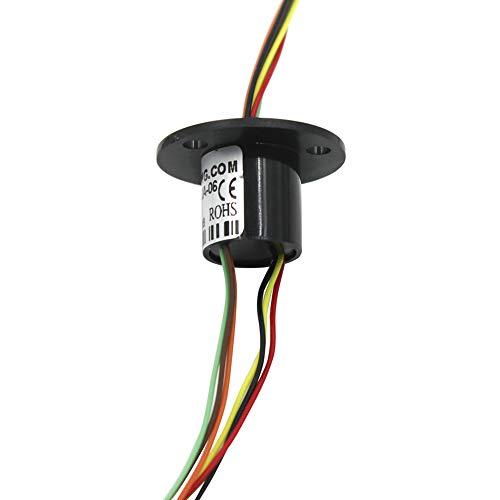 WayinTop Mini Schleifring Kapsel Elektrisch Leitfähig Schleifringe 12,5mm Durchmesser 250RPM 250VDC/VAC 6 Schaltung Jeder 2A für Arduino Robotik Projekt (12,5mm 6 Drähte mit Flansch)