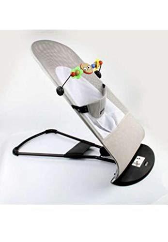 Hamaca, silla, color gris y blanco, mecedora para Bebés, plegable y portátil. Ajustable con 3 diferentes posiciones de balanceo, algodón natural antialergico, totalmente transpirable