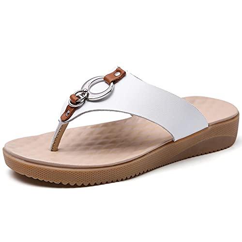 dihui Sandalias ortopédicas,Fashion Gross Full Duplice 13, Sandalias Planas Antideslizantes del pie.-Blanco_41,Pantuflas Transpirables