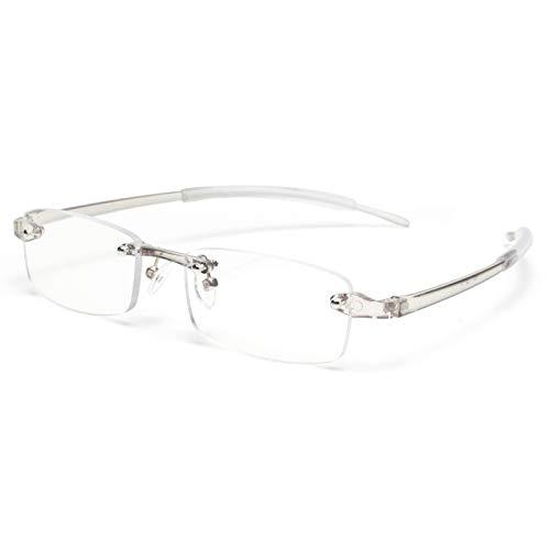 JIMMY ORANGE 老眼鏡 縁なし リムフレ 超弾力性 TR素材 ブルーライトカット PCメガネ 軽量 おしゃれ 4色 携帯用 メンズ レディース リーディンググラス ツーポイント(グレー,+3.0)