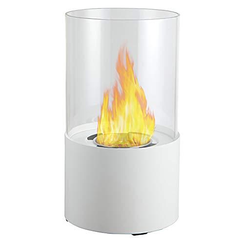 PNAYK - Combustible de etanol bioetanol para interiores y exteriores, con llama ardiente de vidrio templado resistente a altas temperaturas, color negro y blanco