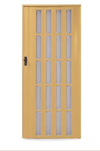 Ondis24 Falttür Ayto, Schiebetür bis 84cm Breite & 205cm Höhe, Sichtfenster Acryl-Glas, Holzstruktur, abschließbar (Buche)