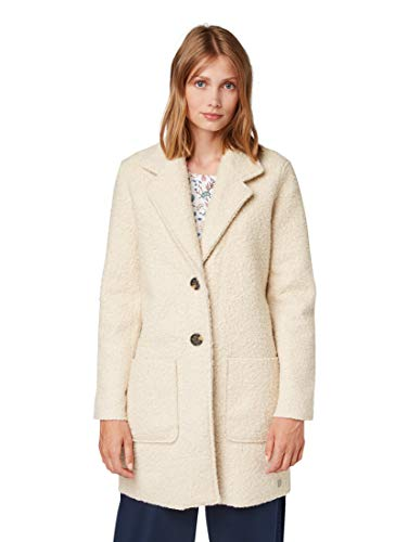 TOM TAILOR Damen Jacken & Jackets Bouclé-Mantel Pale beige Melange,S