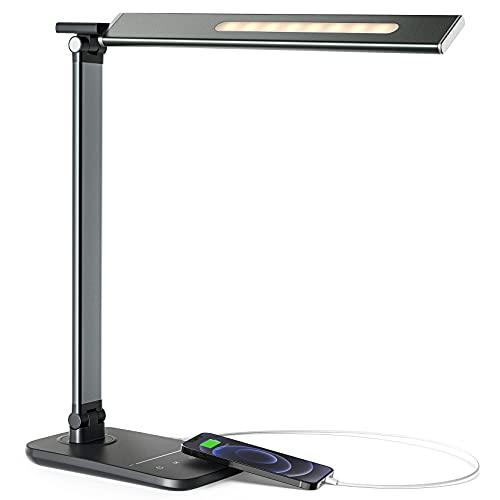 LITOM LED Desk Lamp for Home Office, Eye-Caring Desk Light with USB Charging Port, 10 Brightness, 5...