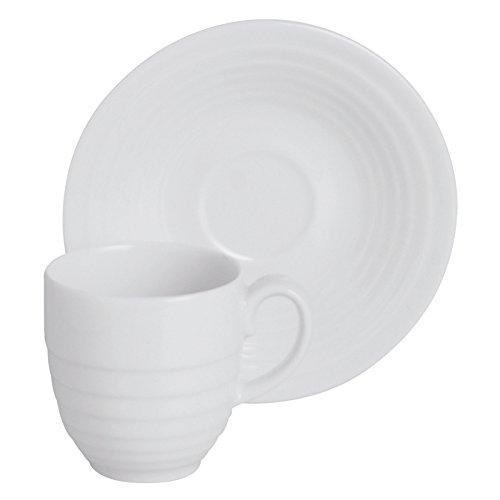 Excelsa Ring Tazza da tè con Piattino Bianca in Porcellana
