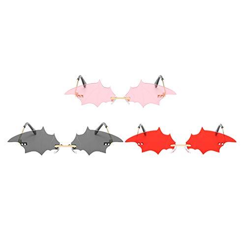 Generic Óculos de Sol Feminino Chique com Asa de Morcego de 3 Peças