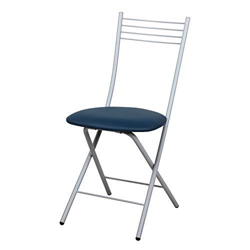 Lot de 2 chaises pliantes en métal et similicuir Bleu Saturn Lot de 2 chaises pour cuisine, salon, bar, restaurant