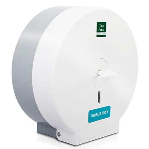 Toilettenpapierspender für Jumborollen | Ideal für Gastronomie & Gewerbe | Abschließbar | Inklusive Montagematerial | Papierspender (Weiß)