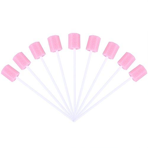 ULTNICE 100 Stück Mundpflegestäbchen Schaumstoff Einweg (Rosa)