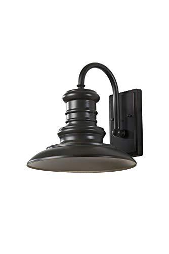 "Feiss OL8601RSZ Redding Station Outdoor Patio Lighting Wall Lantern, Bronze, 1-Light (12""W x 13""H) 100watts"