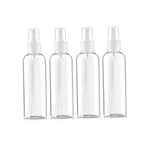 4pcs / set Claro plástico reutilizable aerosol botellas de la niebla fina niebla de pulverización Botellas pipeta atomizador líquido contenedor para aceites esenciales, Viajes, Perfumes (100 ml, 3,5