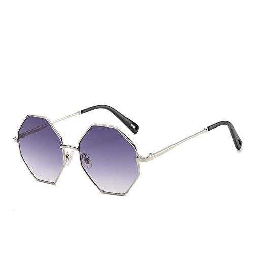 Sechseckigen Sonnenbrille Frau Vintage Metall Rahmen Sonnenbrille Männer Ozean Retro Objektiv Brillen-C_8