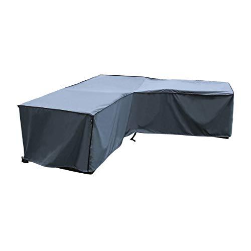 SORARA Schutzhülle gartenmöbel Abdeckung für Eckbank | L Form Lounge abdeckplane | Grau | 255 x 255 x 70/100 cm | Wasserbeständig