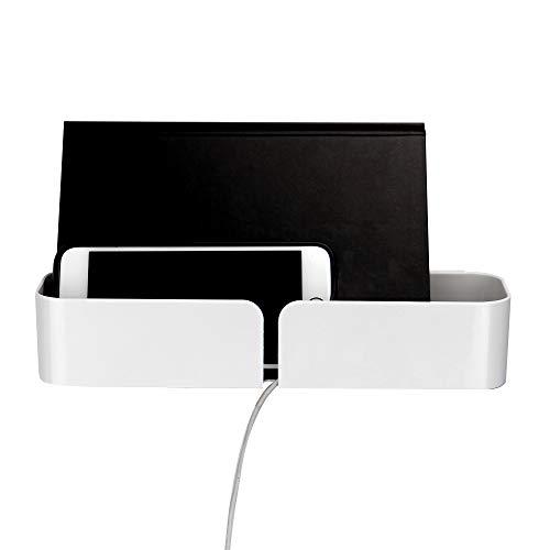 Weißes Nachttisch | Schwimmendes Regal Caddy | Klebstoff Wandregal | Telefon Ladestation | Mehrere Befestigungen enthalten | Pukkr