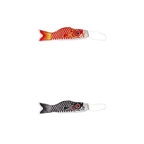 2 Stück 100 Cm japanischen karpfen flagge karpfen banner luftsack machen für die fische koinobori seeigelfisch wind wimpel muticolor fisch, Rot + Schwarz