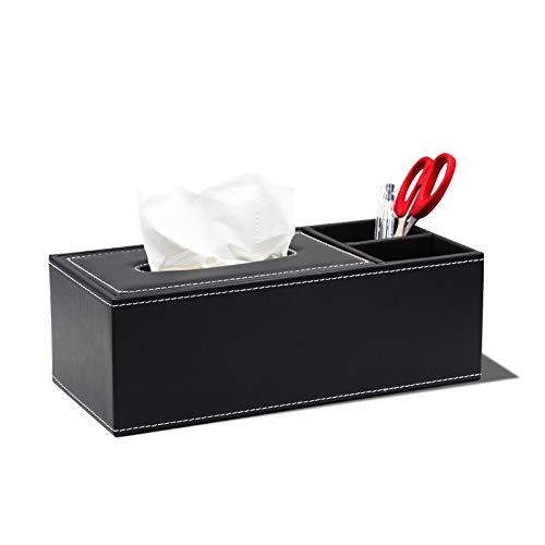 WKEXN Caja de pañuelos de Oficina en casa Rectangular de PU con Caja de Almacenamiento, Elegante Caja de Almacenamiento para servilleteros en la Oficina en casa (Negro)