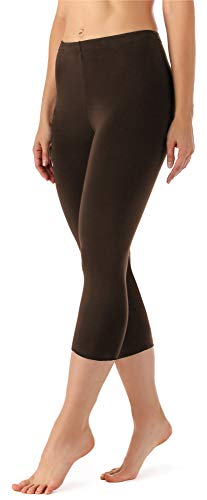 Merry Style Damen Leggings 3/4 aus Viskose MS10-144 (Braun, XXL)