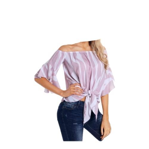 Tops a Rayas con Hombros Descubiertos para Mujer, Moda, Color a Juego, Tendencia, Personalidad, Cuello de una Palabra, Camiseta de Manga Acampanada, Top S