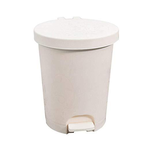 1yess Mülltonne aus Kunststoff Mülleimer Müll Müll europäisch Indoor Haushalt Mülleimer Kaffee Köder Schlafzimmer Küche Badezimmer groß mit Deckel Abfallbehälter (Farbe: schwarz weiß, Größe: 27cm)