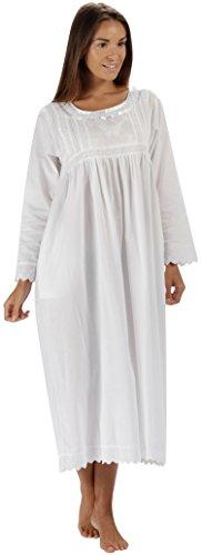 The 1 for U 100% Baumwolle Damen Nachthemd mit Taschen Viktorianisches Stil BN1 - Weiß Langärmlig - Beth, 3XL