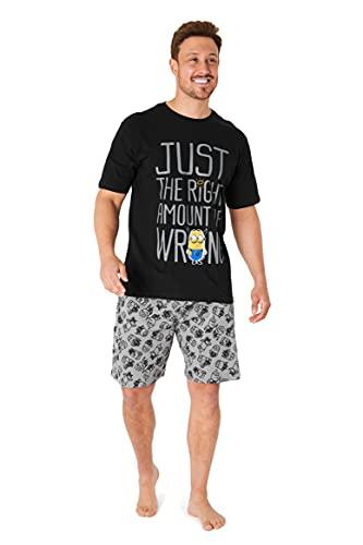 Minions Pijama Hombre Verano, Conjunto Verano Hombre, Ropa Hombre de Algodón S-3XL (Negro, S)