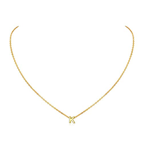 ChicSilver Gold Initial K Necklace for Women Letter Pendant Layered Necklaces Minimalist Monogram Jewelry