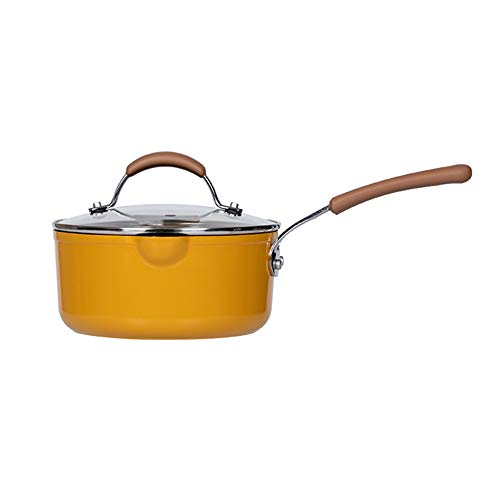 CHENSHJI Mini Butter Warmer Milk Pan Non-stick Pan Baby Food Supplement Pan Baby Boiling Milk Pan Xueping Pan Boiling Pan Instant Noodle Pan (Color : Yellow, Size : 16x8.5x13.8cm)
