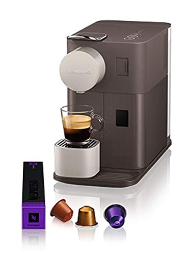 Nespresso EN500BW De'Longhi Lattissima One - Cafetera monodosis de cápsulas Nespresso con depósito de leche compacto, 19 bares, apagado automático, color moccha marrón