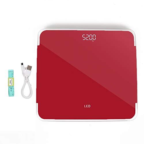 Báscula de peso corporal digital, Báscula de peso corporal digital eléctrica Pantalla LED Monitor de salud de carga USB de alta precisión Báscula de baño para gimnasio en casa(rojo)
