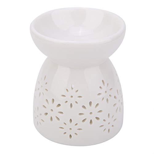 WEILafudong Candelabro de cerámica para aromaterapia, aceite esencial, luz nocturna, estufa de aceite esencial, mini quemador de incienso, apto para decoración del hogar (flor)